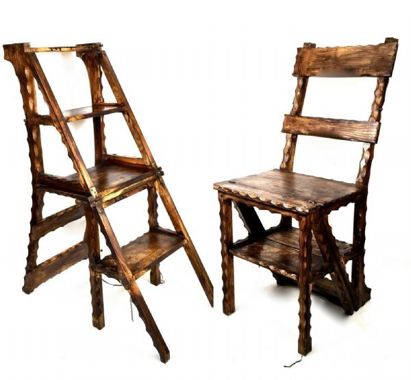Antique Wooden Metamorphic Arts & Crafts Library Steps / Chair / Ladder